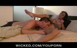 sexually excited big-tit brunette hair pornstar