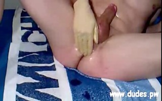 boy masturbating vegetables in his arsehole