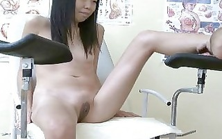 slender shy oriental fingered by doctor messy