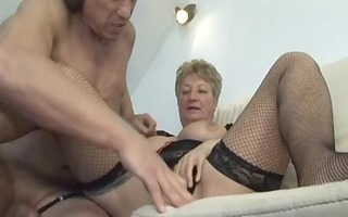 blond shorthair large gorgeous woman-granny fucked