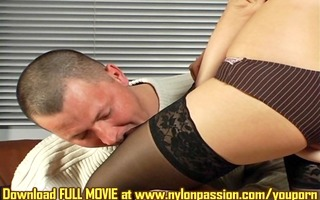 guy is astonished with legs in dark nylons