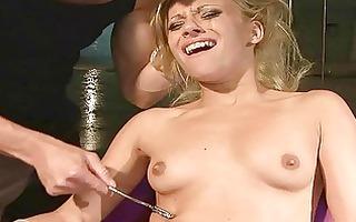 gorgeous golden-haired getting bondaged