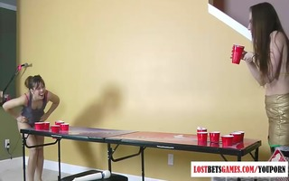 glamorous cuties play undress beer pong