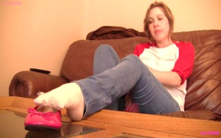 caroline pink flats shoeplay in socks preview