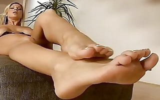 tight butt teasing blonde with foot fetish