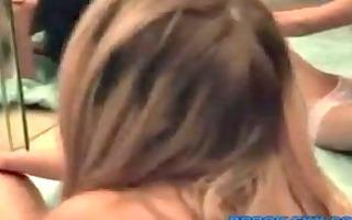 golden-haired rubs brunette