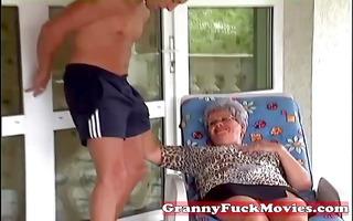 granny eve engulfing hard youthful penis