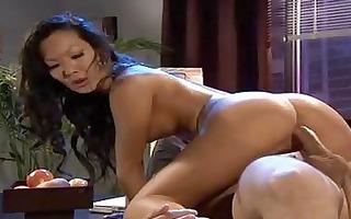 dark brown oriental secretary gets her hairless