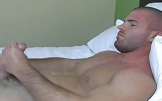 hawt muscled homosexual guy plays with his hard