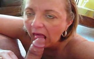 bulky mature gives blowjob job