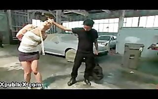 bdsm blond spanked and screwed in auto repair shop
