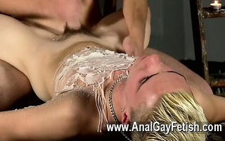 homosexual twinks splashed with wax and