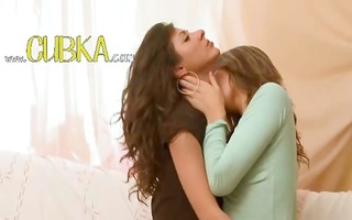 sleek lesbo teenies from russia giving a kiss