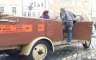 youthful chap bangs granny tourist
