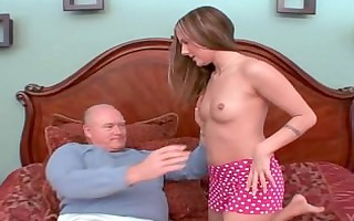 youthful schoolgirl gived pervert old chap blow