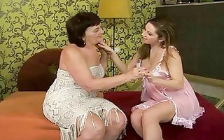 unsightly granny and sexy teen have a fun lesbo