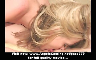 excellent glamorous blond and dark brown lesbo