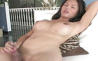 hot asian ts in leopard suit masturbate