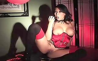 excited oriental model masturbating