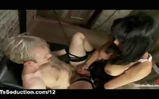 breasty asian ladyman copulates fastened boy and