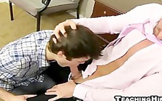 insane twink gives his older boss a hummer