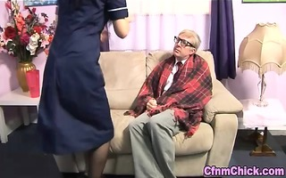 euro fetish nurse strokes old schlong