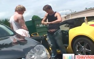 golden-haired man acquires a-hole screwed in car