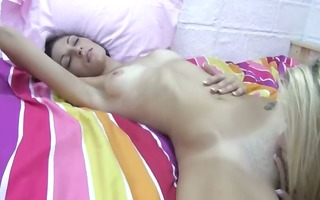 sexually excited nice-looking lesbians licking