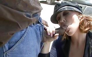 older police babes engulfing darksome pounder on