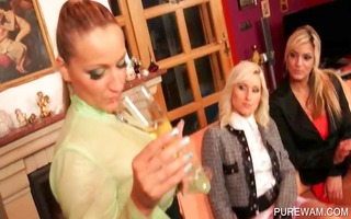 dressed lesbian babes acquire indecent in wam