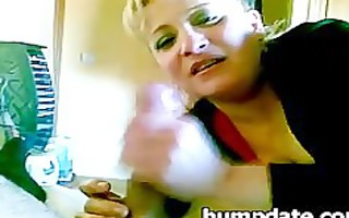 golden-haired milf gives cook jerking and
