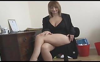 breasty mature blonde secretary disrobes and