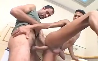 latin dad with enormous strapon fucks twink