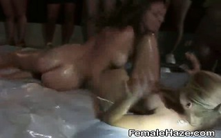 college beauties oiled up and getting oral job on