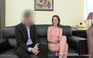 love creampie three-some with breasty milf ends