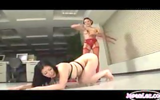 oriental girl whipped wearing collar licking cunt