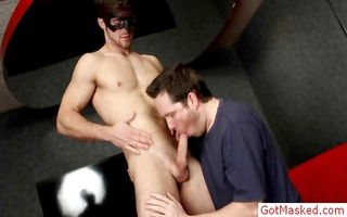 masked man jerking his precious firm dong