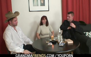 poker playing granny getting screwed by two lads