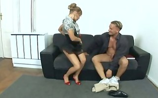 tiny nerdy secretary with glasses fucking in the