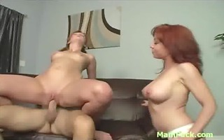 charming redhead mamma makes pigtailed daughter