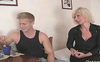 old blond rides her neighbour big weenie